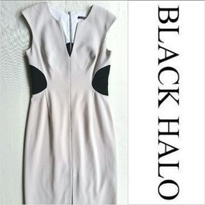 Black Halo Colorblock Illusion Sheath Dress